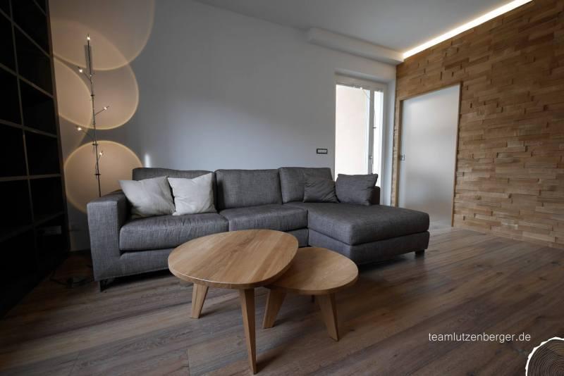 Wohnzimmer Spaltholzwand